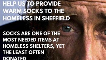 Socks for the Homeless.  Socks in the City of Sheffield