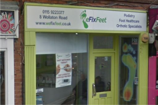 Outside of We Fix Feet Clinic in Beeston. Nottinghamshire